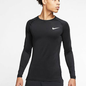 Nike Pro Long-Sleeve Athletic Shirt in Black